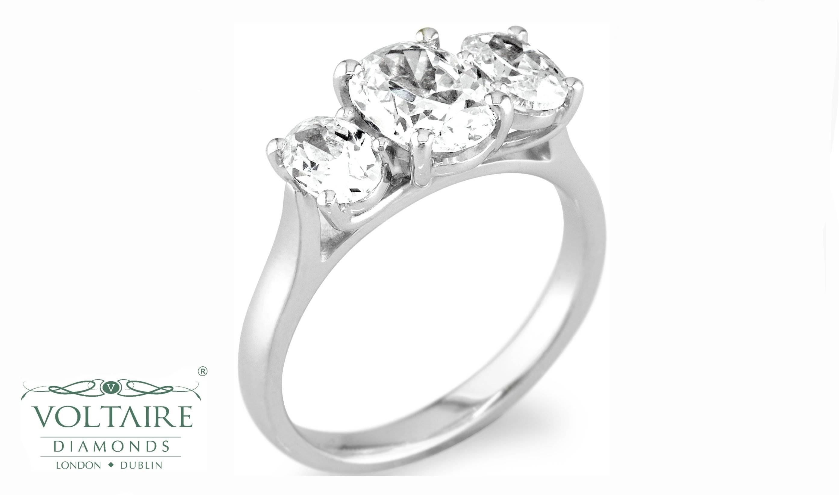 Three Stone Oval Trilogy Engagement Ring – Er 1066 – Youtube Within Trilogy Engagement Rings (View 13 of 15)