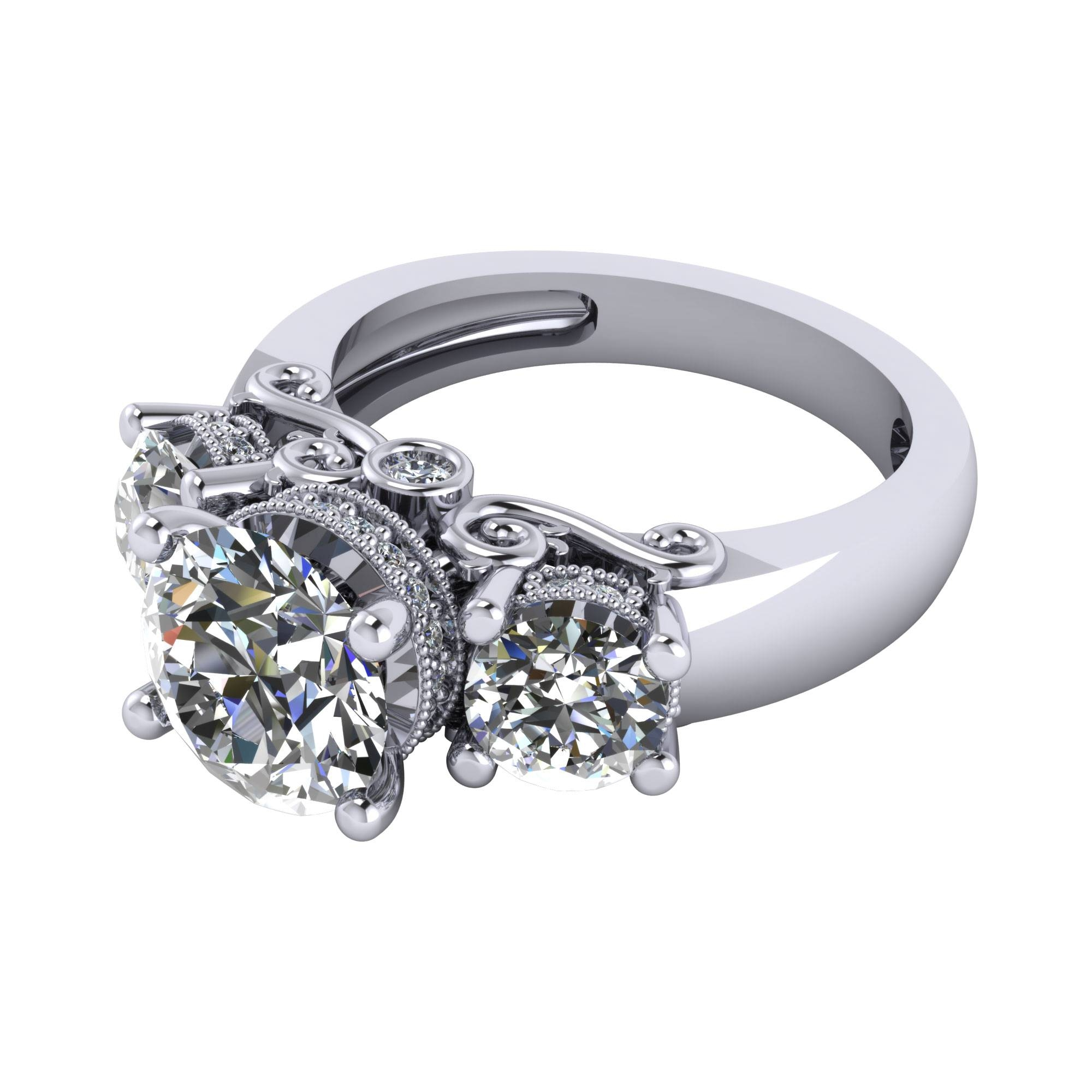 Three Stone Rings – Engagement Rings Inside Crown Style Engagement Rings (Gallery 14 of 15)