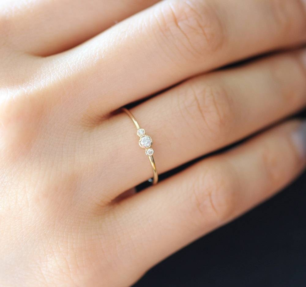 Three Stone Round Brilliant Cut Diamond Engagement Ring Thin Inside Engagement Rings Without Stone (View 15 of 15)