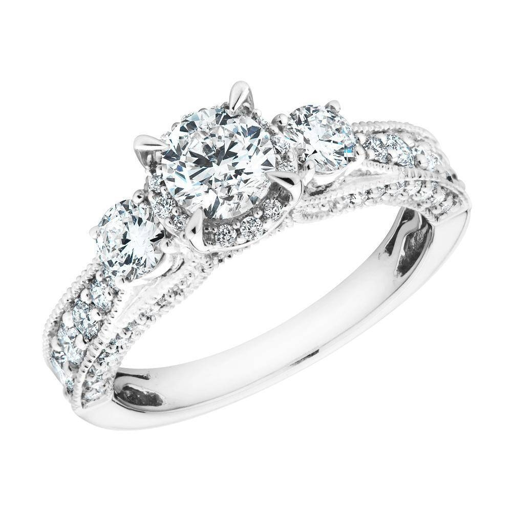 Three Stone Round Diamond Plus Engagement Ring 1 3/8Ctw – Item Throughout Three Stone Wedding Rings (View 15 of 15)