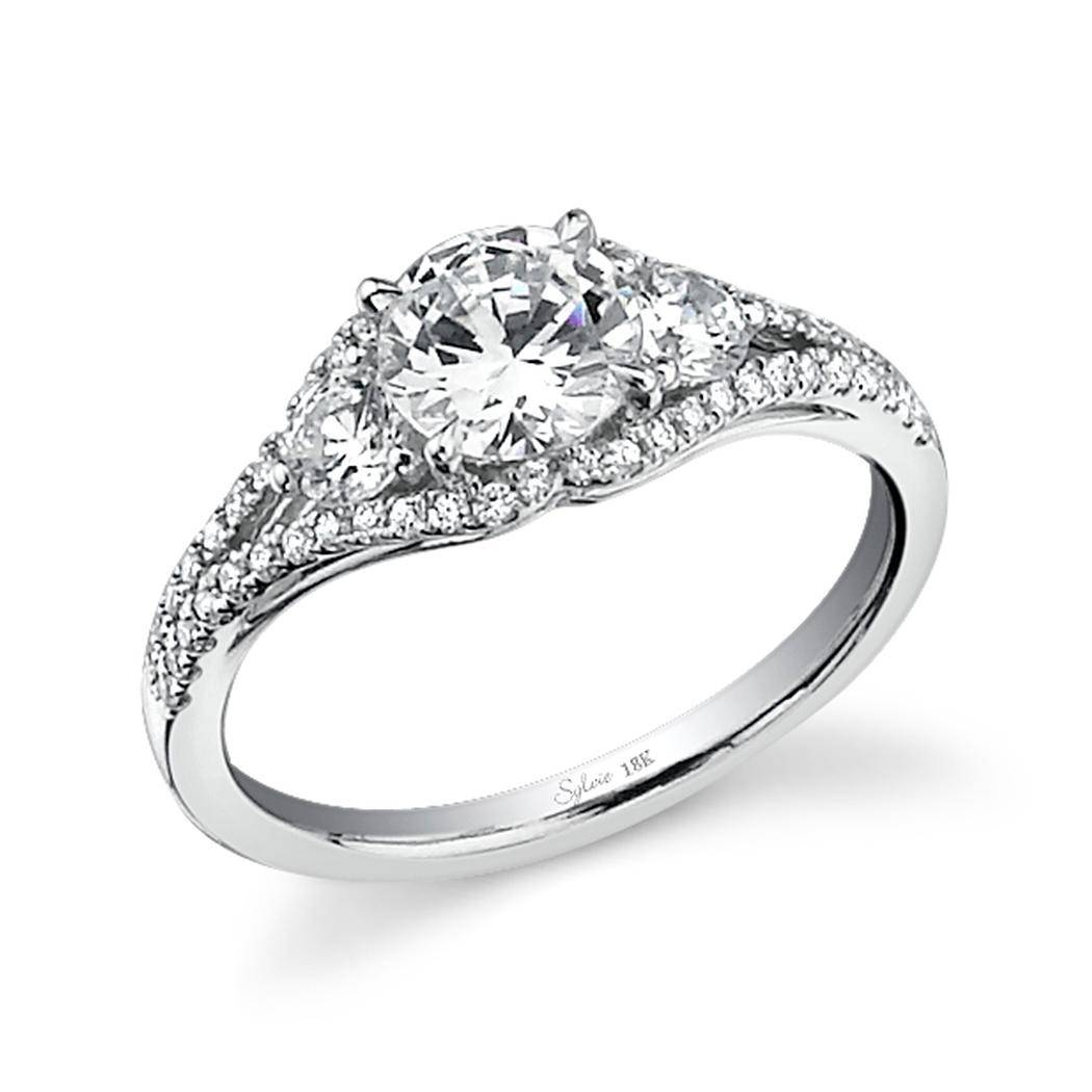 Three Stone Split Shank Diamond Engagement Ring | Diamondsrforever Within Split Shank Wedding Rings (View 9 of 15)