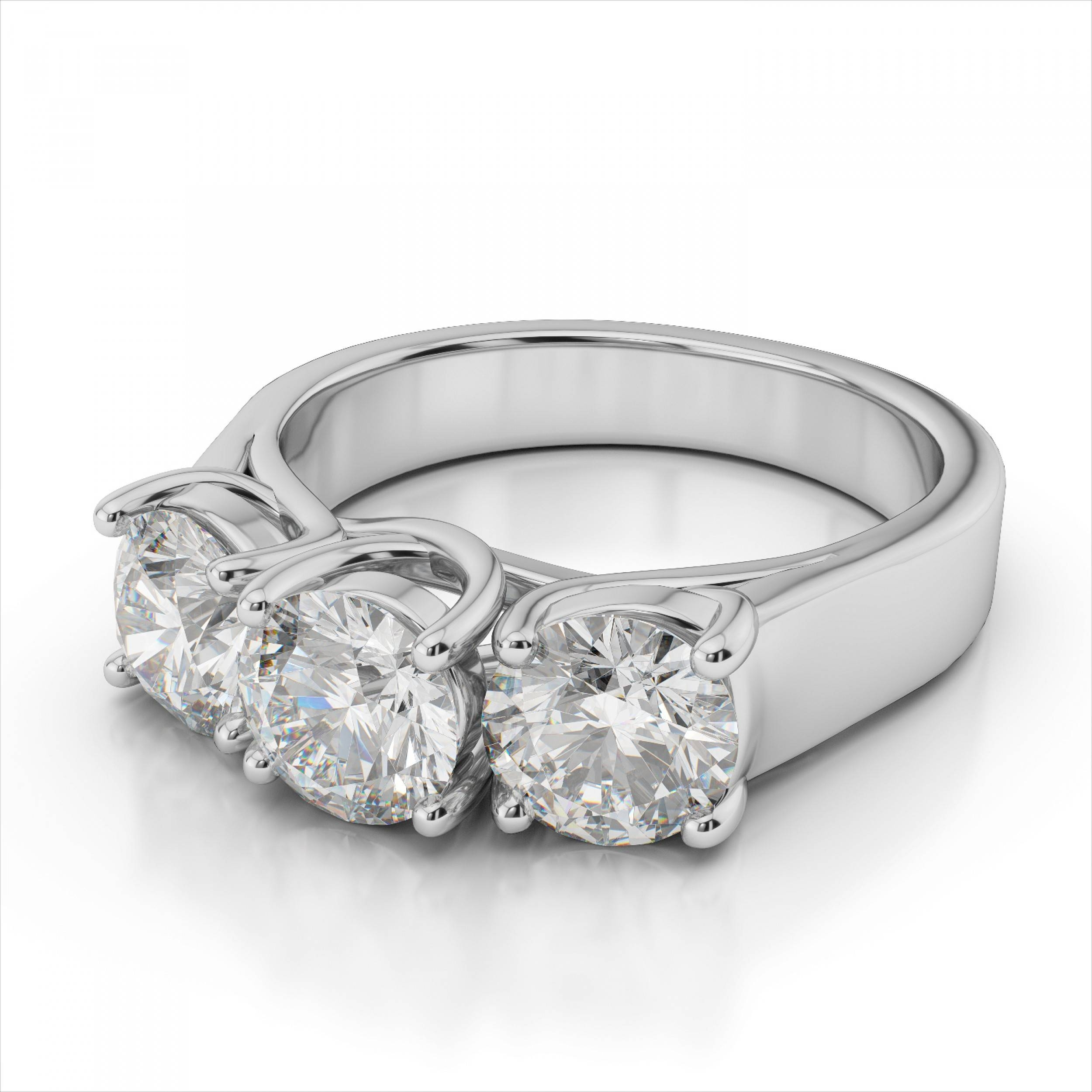 Three Stone Trilogy Diamond Ring In 14k White Gold (View 5 of 15)
