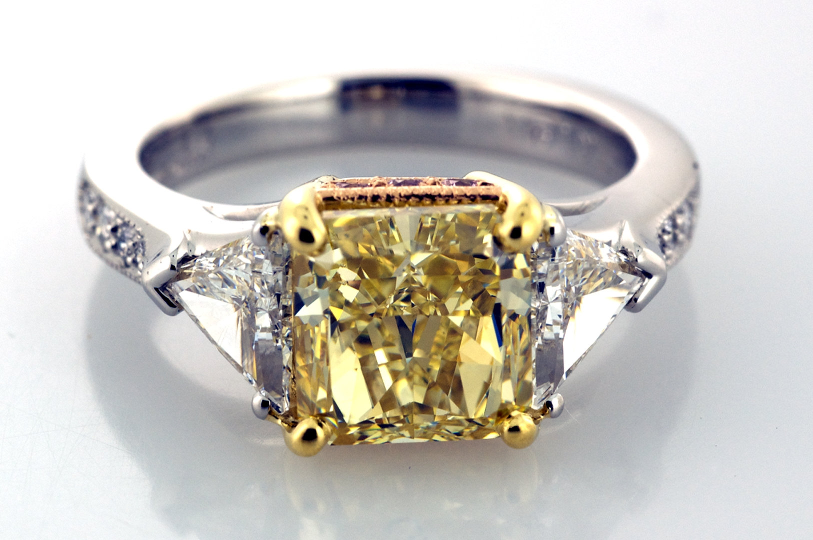 Three Stone Yellow And White Diamond Ring | Three Stone Rings Inside Engagement Rings With Yellow Stone (View 13 of 15)