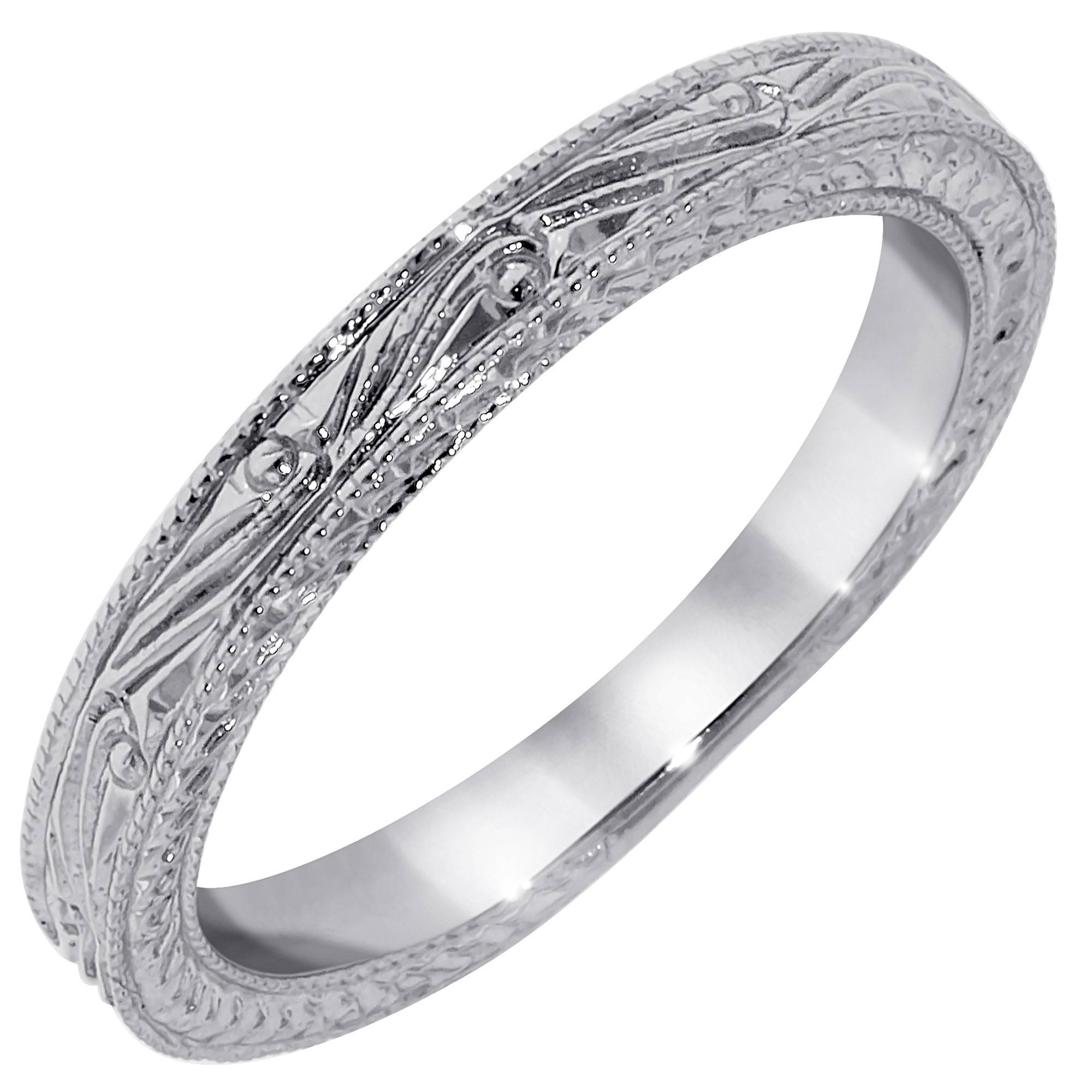 Timeless Designs Engraved Wedding Band In 14Kt White Gold Pertaining To Engrave Wedding Bands (Gallery 12 of 15)