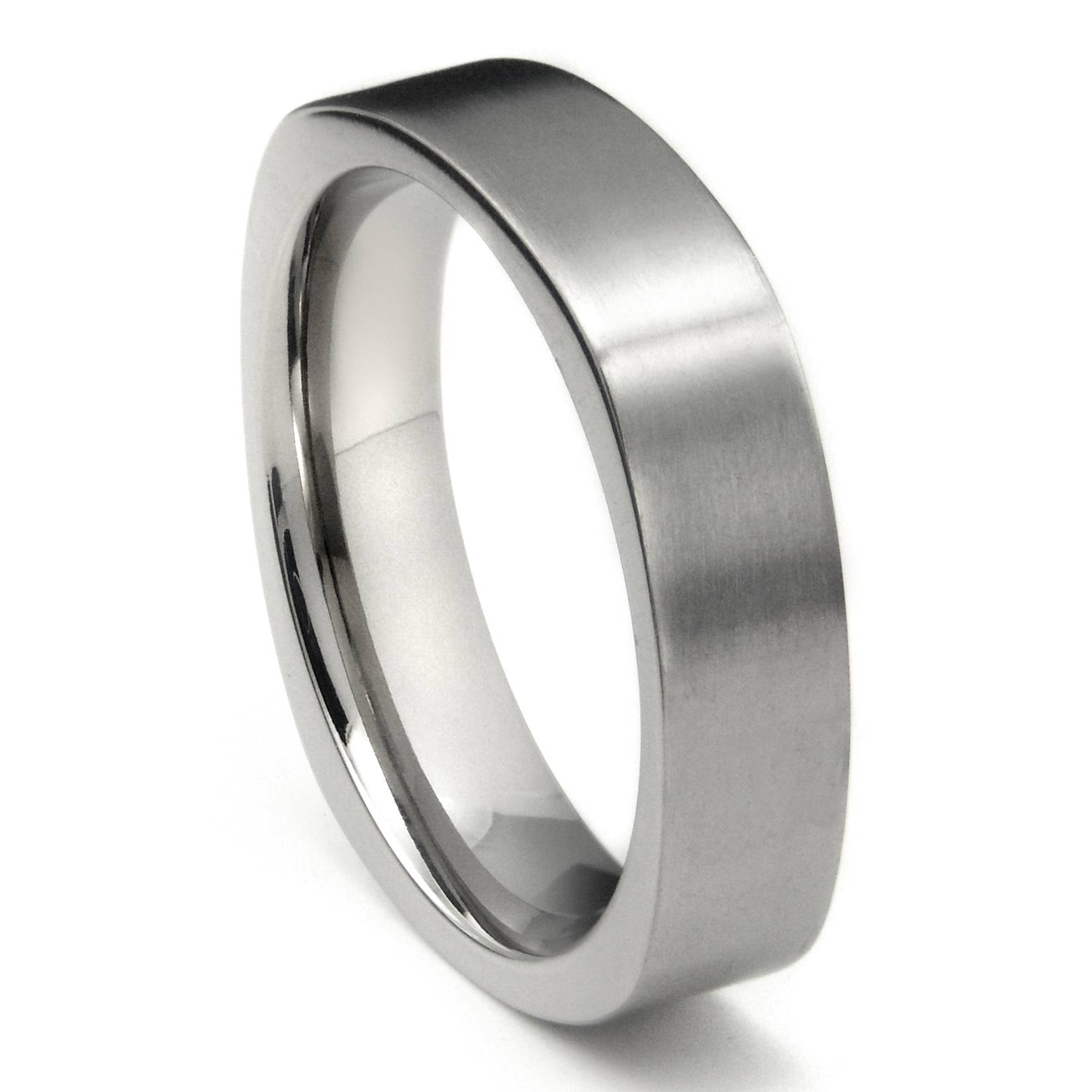 Titanium 6Mm Satin Finish Square Wedding Band Ring Pertaining To Square Mens Wedding Rings (View 15 of 15)