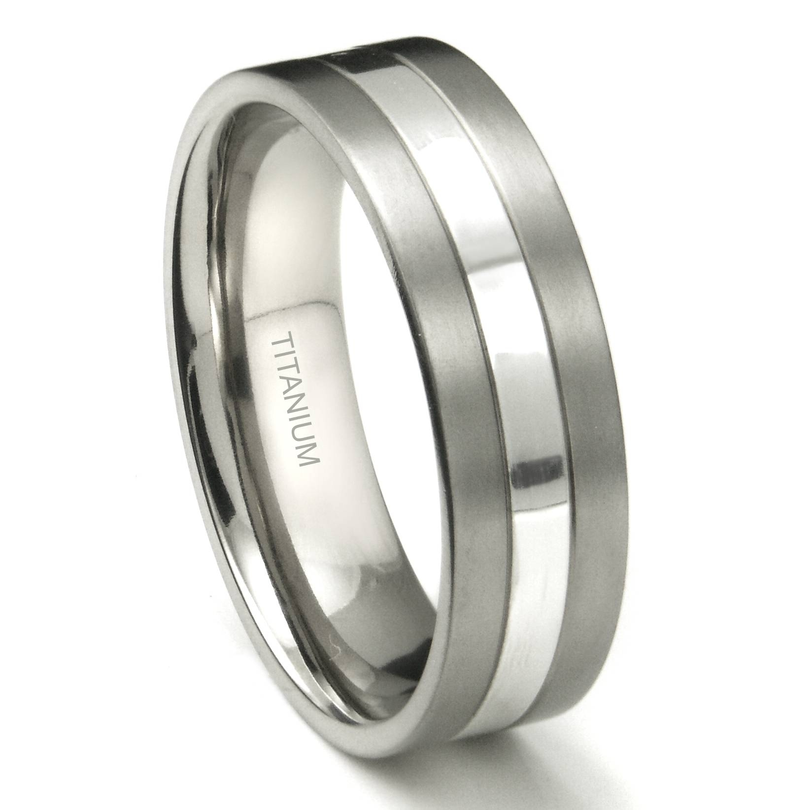 Titanium 7Mm Two Tone Wedding Ring With Black And Silver Mens Wedding Rings (View 13 of 15)