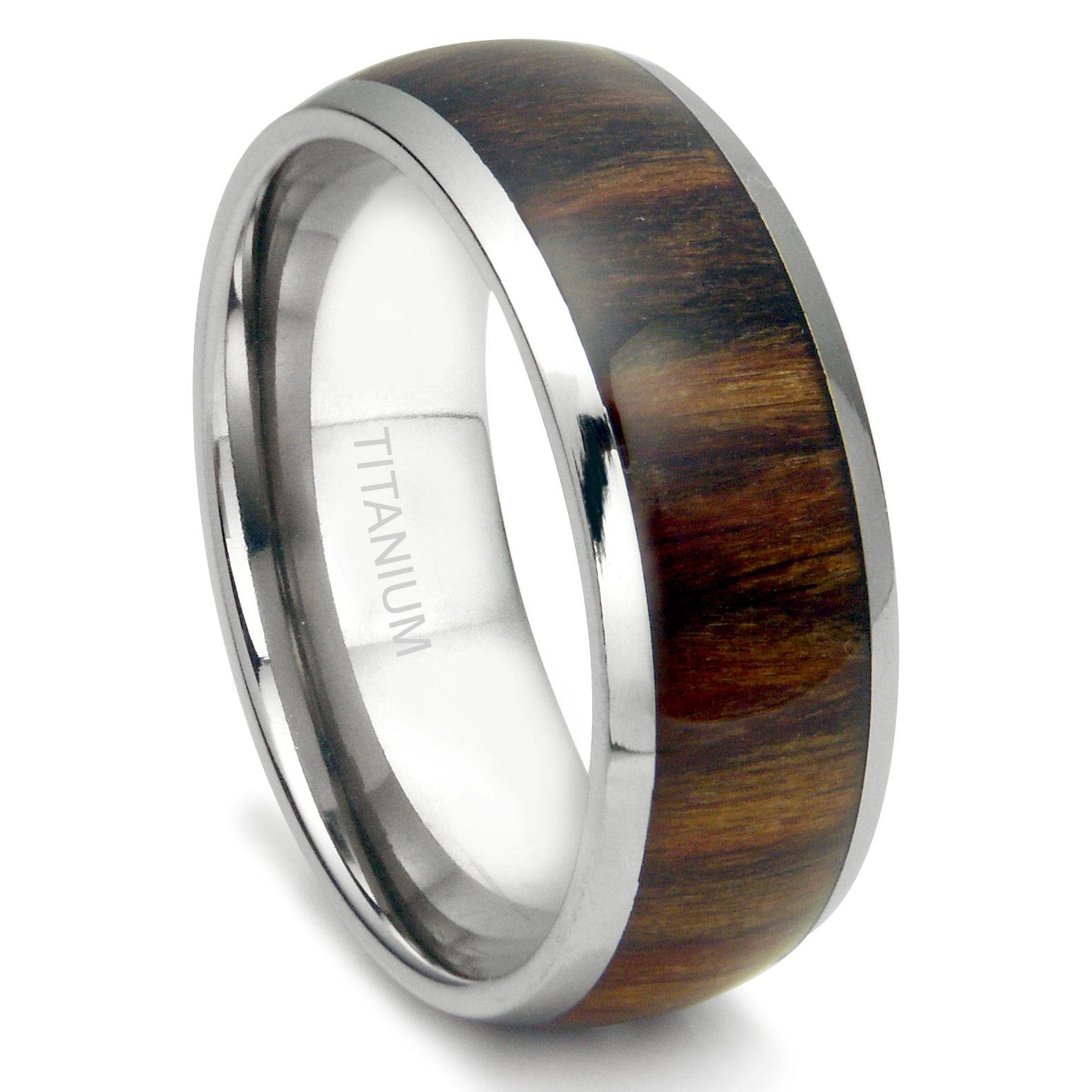 Titanium 8Mm Domed Santos Rosewood Inlay Wedding Band Ring Pertaining To Titanium Mens Wedding Bands (View 12 of 15)