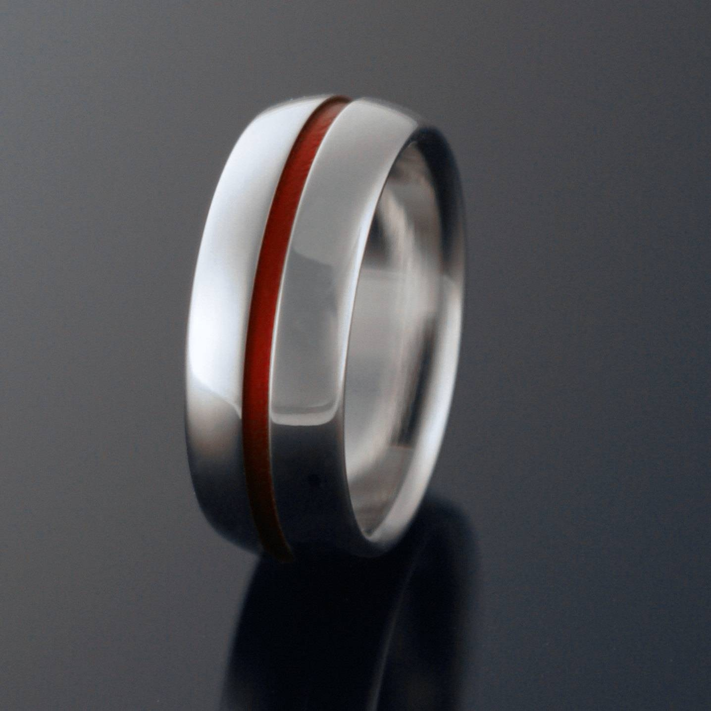 Titanium Band Red Pinstripe Red String Of Fate Titanium Inside Red String Of Fate Wedding Rings (View 12 of 15)