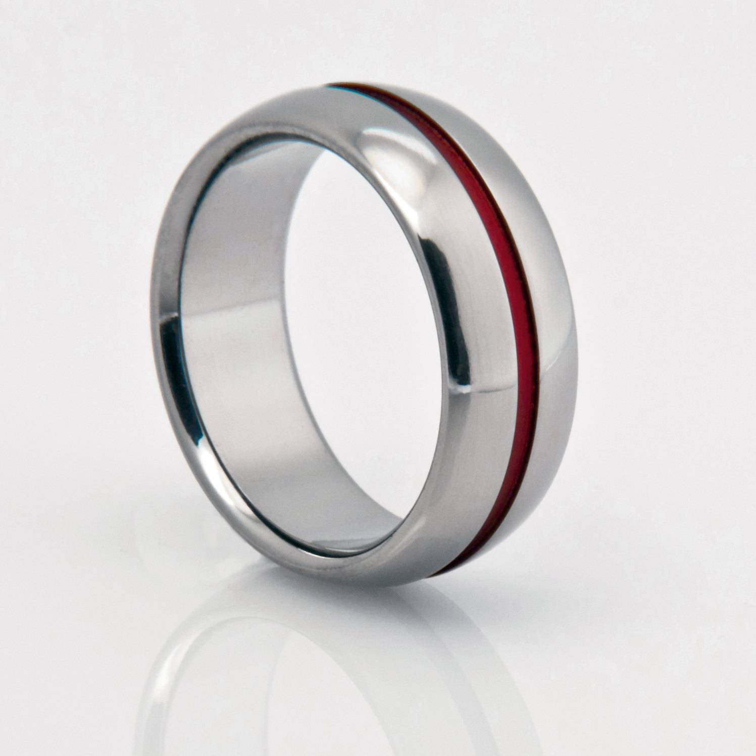 Titanium Band Red Pinstripe Red String Of Fate Titanium Regarding Red String Of Fate Wedding Rings (Gallery 1 of 15)