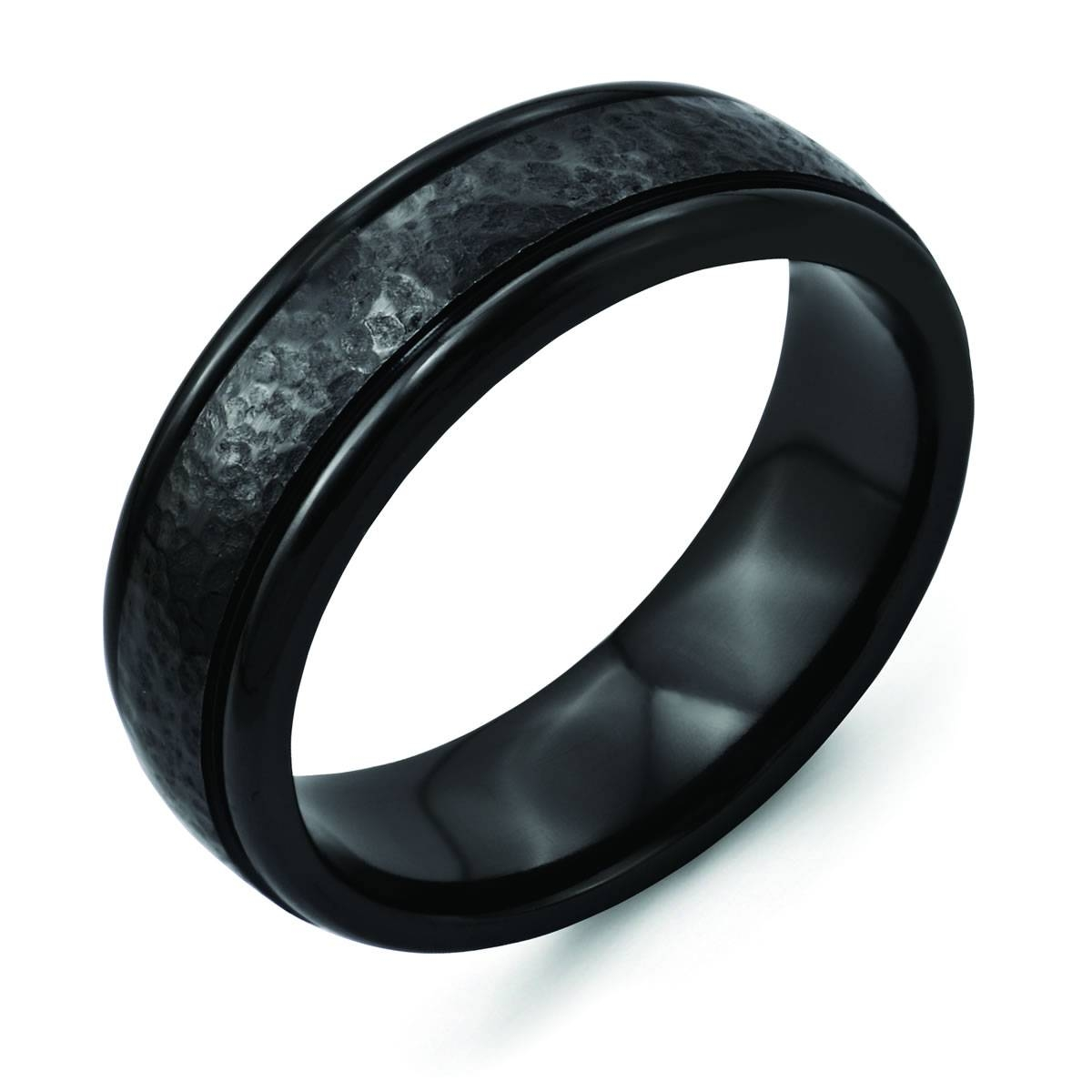 Titanium Black Ti Hammered Ridged Edge 7Mm Brushed Men's Wedding Pertaining To Tungsten Hammered Wedding Bands (View 12 of 15)