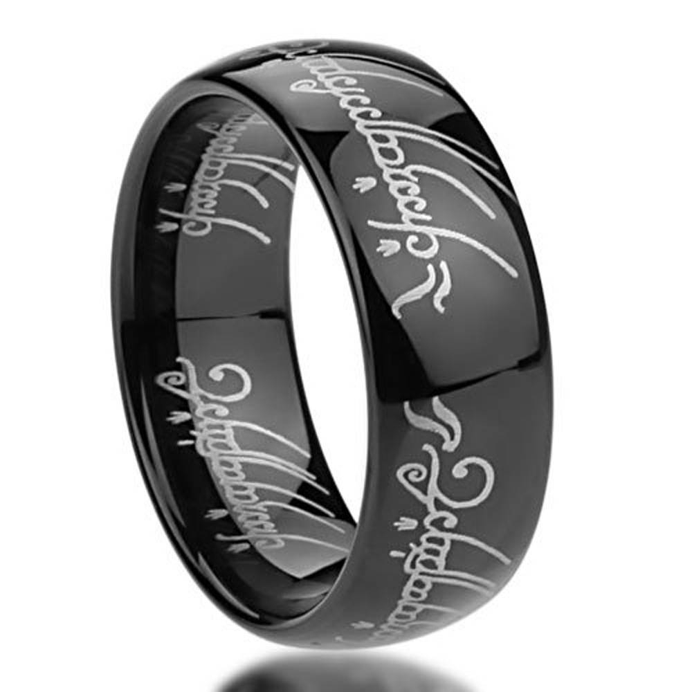 "Titanium Comfort Fit ""lord Of The Rings"" Wedding Band Ring Inside For Titanium Lord Of The Rings Wedding Bands (View 19 of 21)"