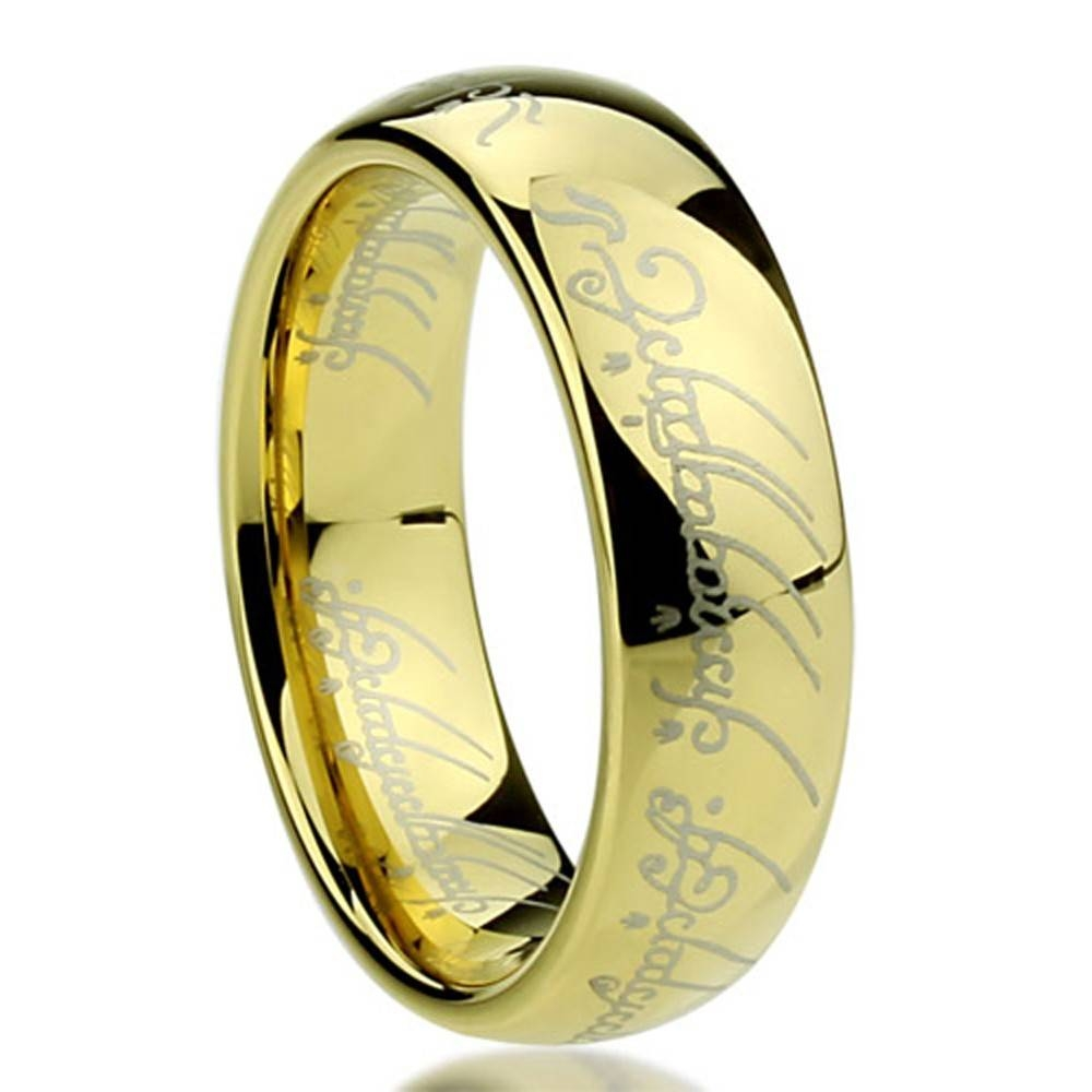 "Titanium Comfort Fit ""lord Of The Rings"" Wedding Band Ring Inside With Regard To Lord Of The Rings Wedding Bands (View 12 of 15)"