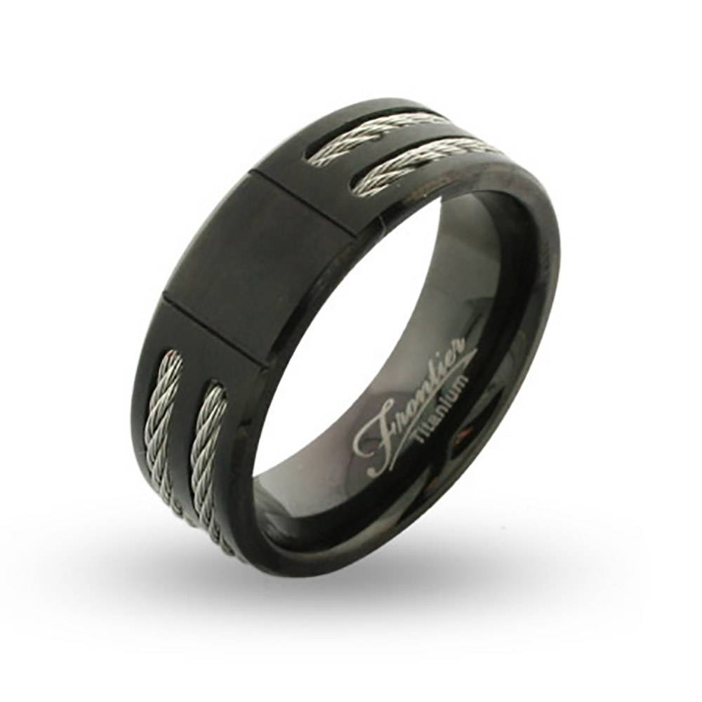 Titanium Engravable Signet Ring With Double Cable Inlay For Engravable Titanium Wedding Bands (View 10 of 15)