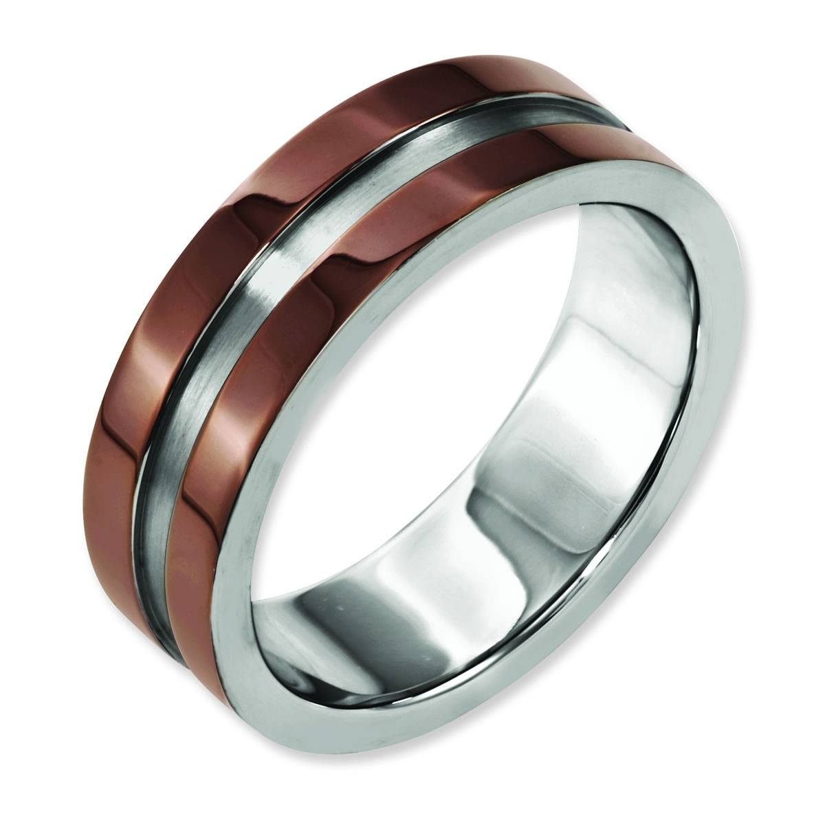 Titanium Grooved 8Mm Chocolate Plated Men's Wedding Band | Samuels For Chocolate Wedding Bands (View 15 of 15)