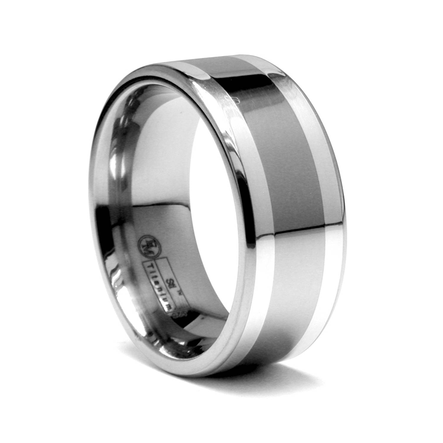 Titanium Men's Ring With Silver Inlays | Alpha Rings Intended For Black Titanium Wedding Bands For Men (View 12 of 15)