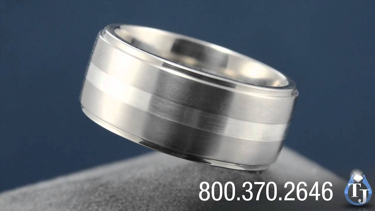 Titanium Mens Wedding Band With Sterling Silver Inlayedward Inside 10Mm Men's Wedding Bands (View 15 of 15)