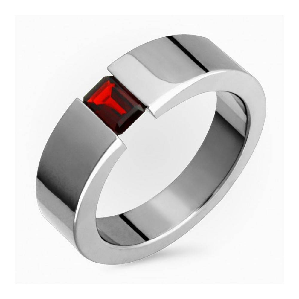 Titanium Octagon Garnet Tension Set 7Mm Wide Wedding Ring Polished Inside Men's Garnet Wedding Bands (View 13 of 15)