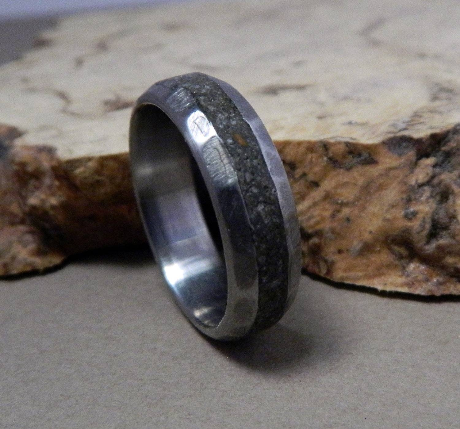 Titanium Ring, Concrete Ring, Wedding Ring, Wedding Band, Handmade Pertaining To Mens Handmade Wedding Bands (View 11 of 15)
