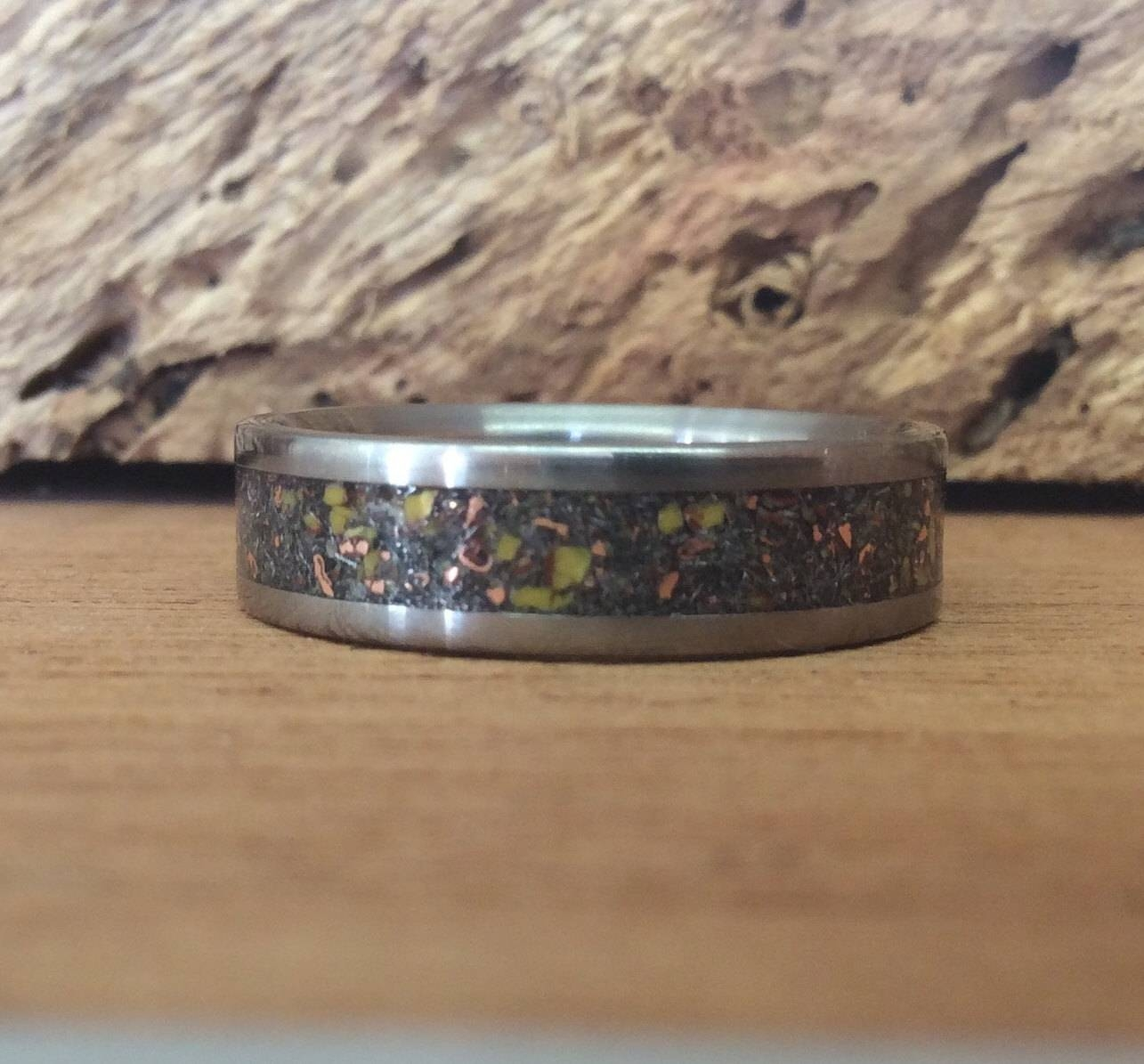 Titanium Ring, Meteorite Ring, Dinosaur Bone Ring, Mens Ring Intended For Handmade Mens Wedding Rings (View 11 of 15)