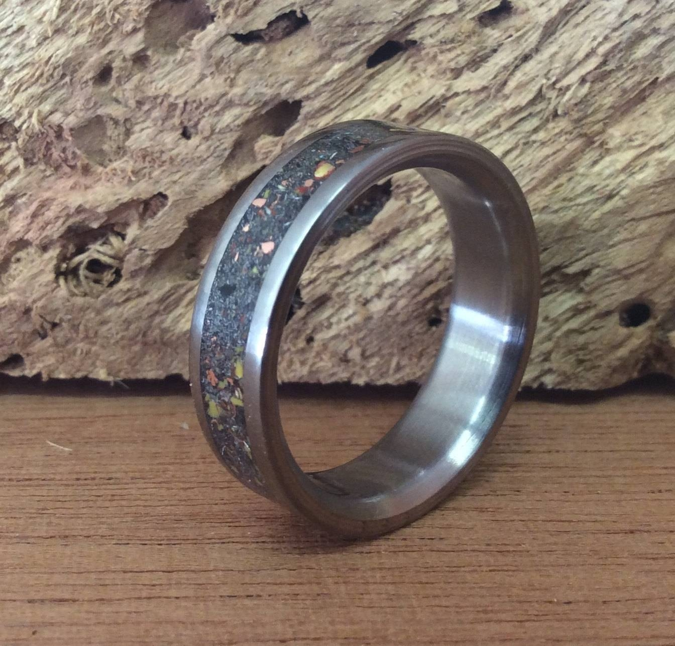 Titanium Ring, Meteorite Ring, Dinosaur Bone Ring, Mens Ring Throughout Handmade Men's Wedding Bands (View 13 of 15)