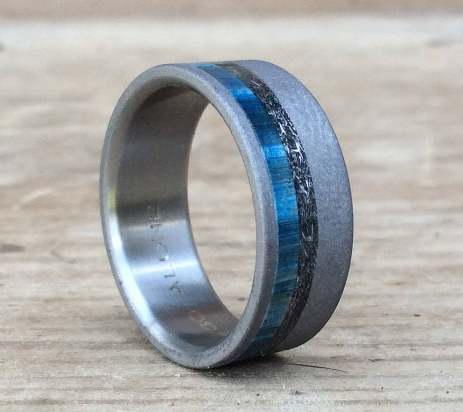 Titanium Ring, Meteorite Ring, Wood Ring, Blue Ring, Custom Made Throughout Men's Wedding Bands Meteorite (View 2 of 15)