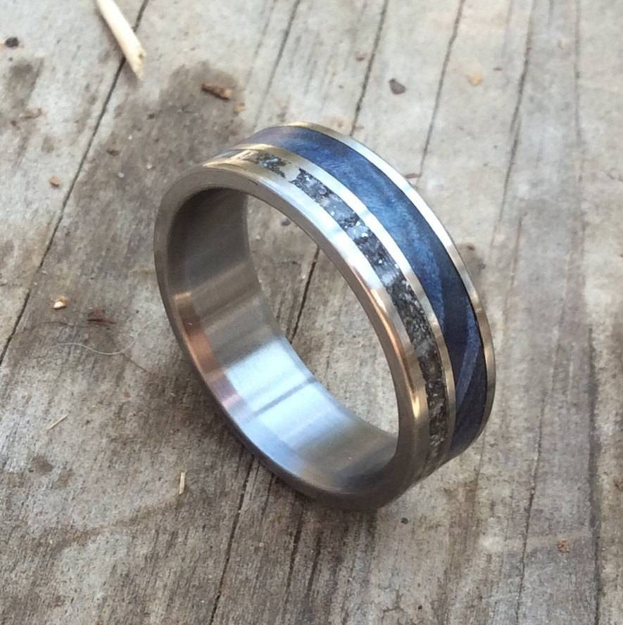 Titanium Ring Meteorite Ring Wood Ring Blue Wood Ring Mens Throughout Mens Handmade Wedding Bands (View 10 of 15)