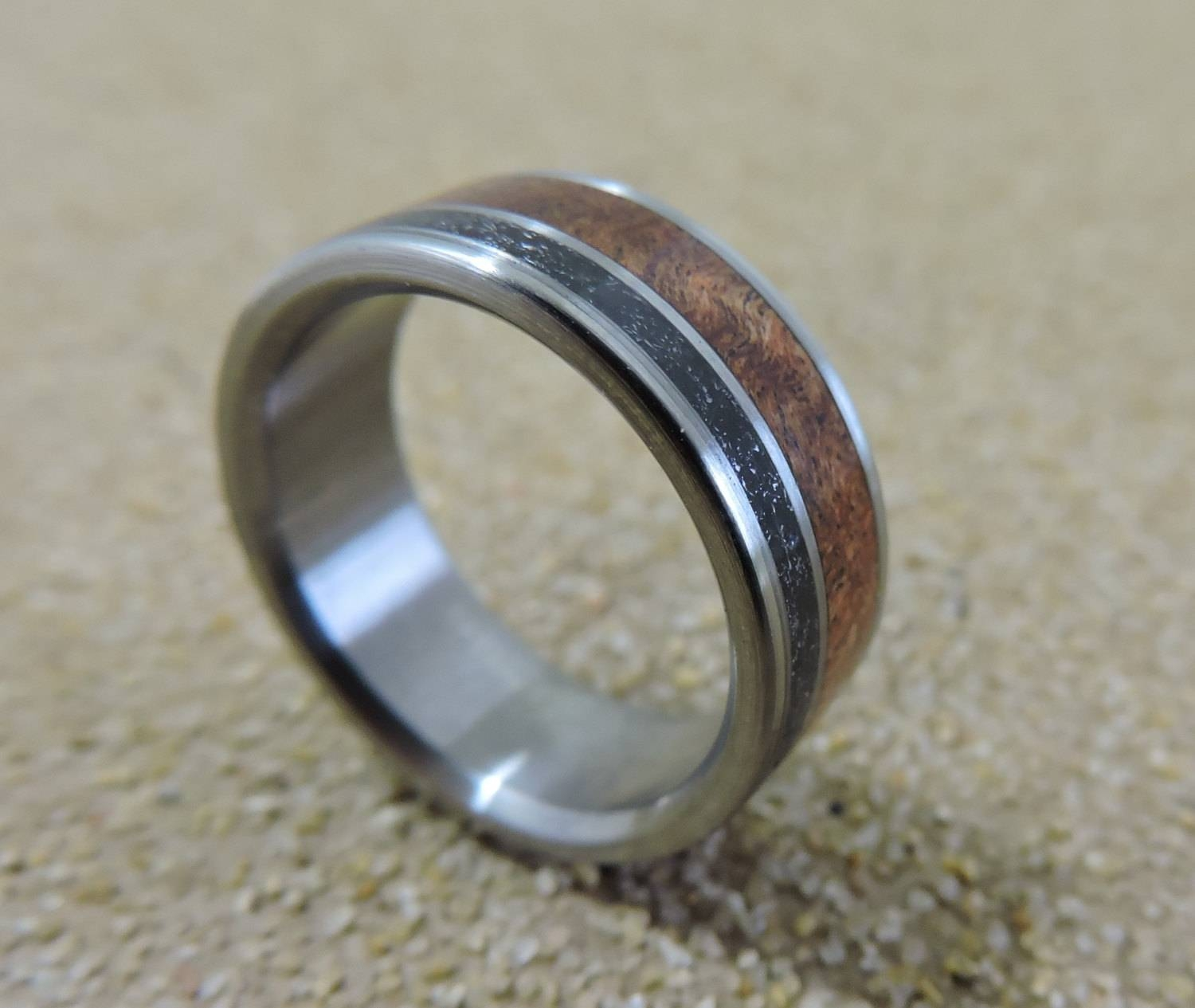 Titanium Ring, Meteorite Ring, Wood Ring, Mesquite Ring, Mens Ring Intended For Mens Handmade Wedding Bands (View 9 of 15)