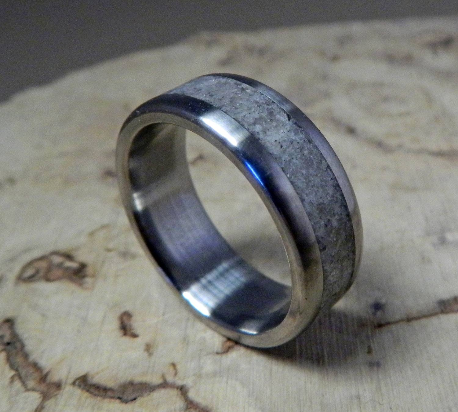 Titanium Ring, Wedding Ring, Rose Quartz Ring, Wedding Band, Mens Throughout Mens Custom Wedding Rings (View 9 of 15)