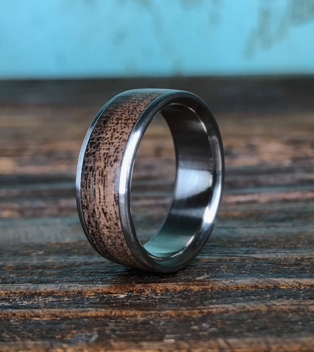 Titanium Ring, Wedding Ring, Wood Ring, Black Walnut Ring, Wood For Wood Inlay Men's Wedding Bands (View 10 of 15)
