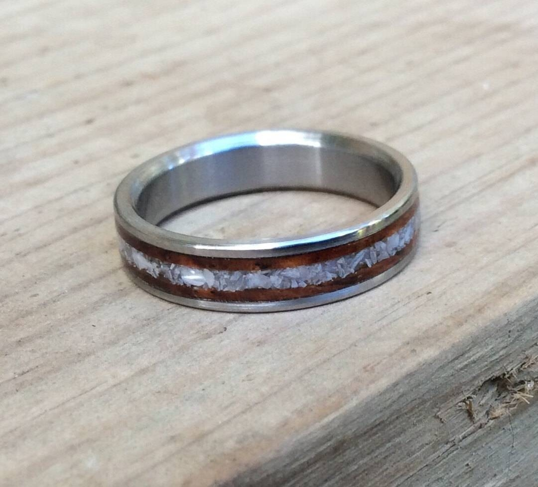 Titanium Ring, Wedding Ring, Wood Ring, Cocobolo Ring, Wood Inlay Regarding Mother Of Pearl Wedding Bands (View 14 of 15)