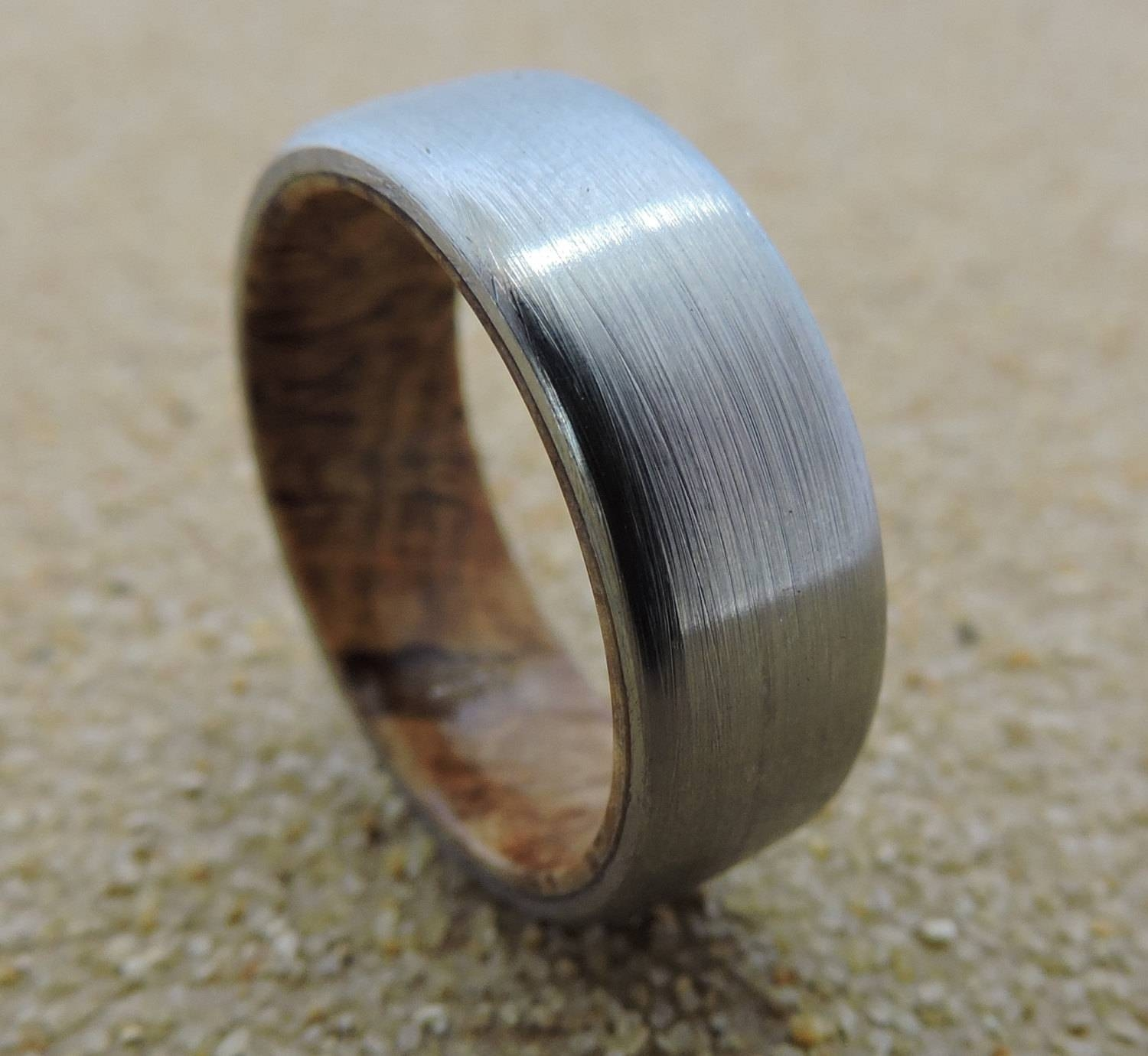 Titanium Ring, Wedding Ring, Wood Ring, Wood Inlay Ring, Black Ash For Mens Custom Wedding Rings (View 10 of 15)