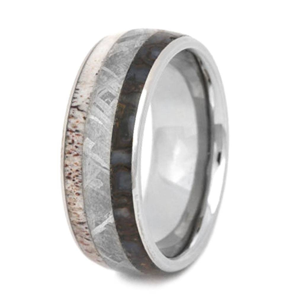 Titanium Ring With Antler, Meteorite, And Dinosaur Bone Regarding Dinosaur Bone Engagement Rings (View 13 of 15)