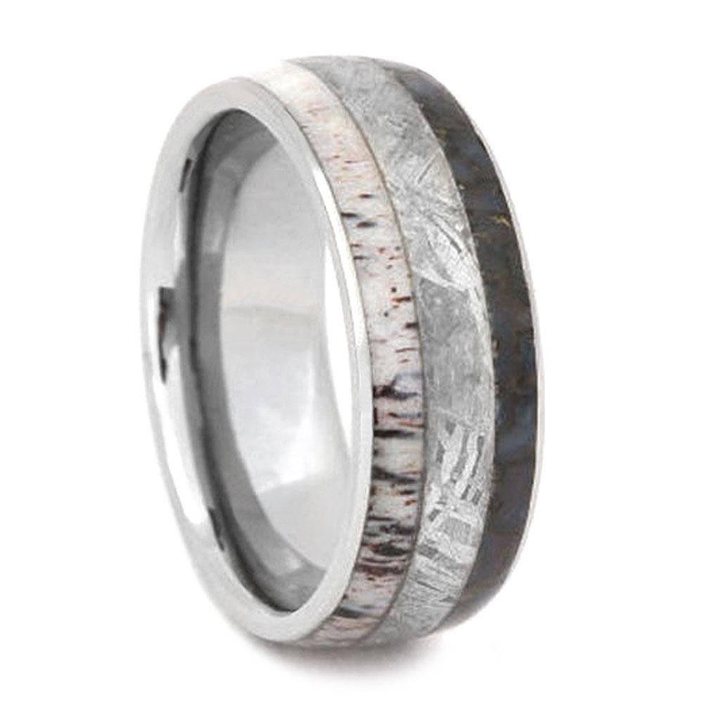 Titanium Ring With Antler, Meteorite, And Dinosaur Bone Within Antler Wedding Bands (View 14 of 15)