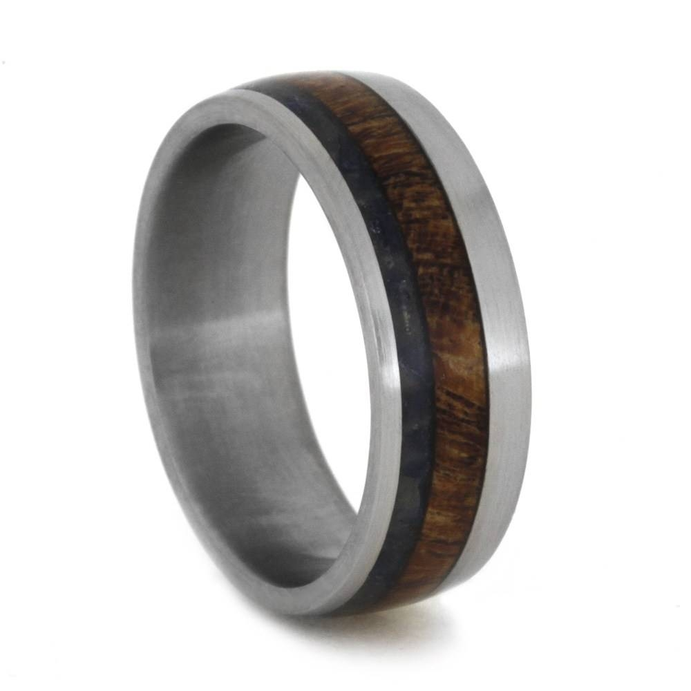 Titanium Ring With Crushed Blue Sea Glass & Mesquite Wood Regarding Titanium Mens Wedding Bands (View 15 of 15)