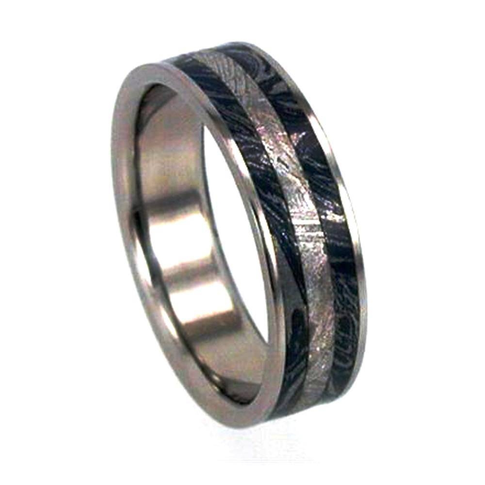 Titanium Ring With Mokume Gane And Meteorite Inlays Pertaining To Mokume Mens Wedding Bands (View 15 of 15)