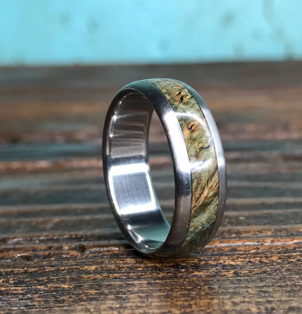 Titanium Ring, Wood Ring, Black Ash Burl Ring, Wedding Ring Throughout Men's Wedding Bands Wood Inlay (View 12 of 15)