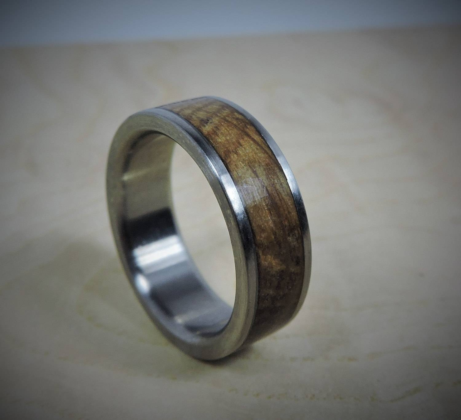 Titanium Ring, Wood Ring, Custom Made Ring, Wedding Ring, Charred With Regard To Mens Custom Wedding Rings (View 11 of 15)