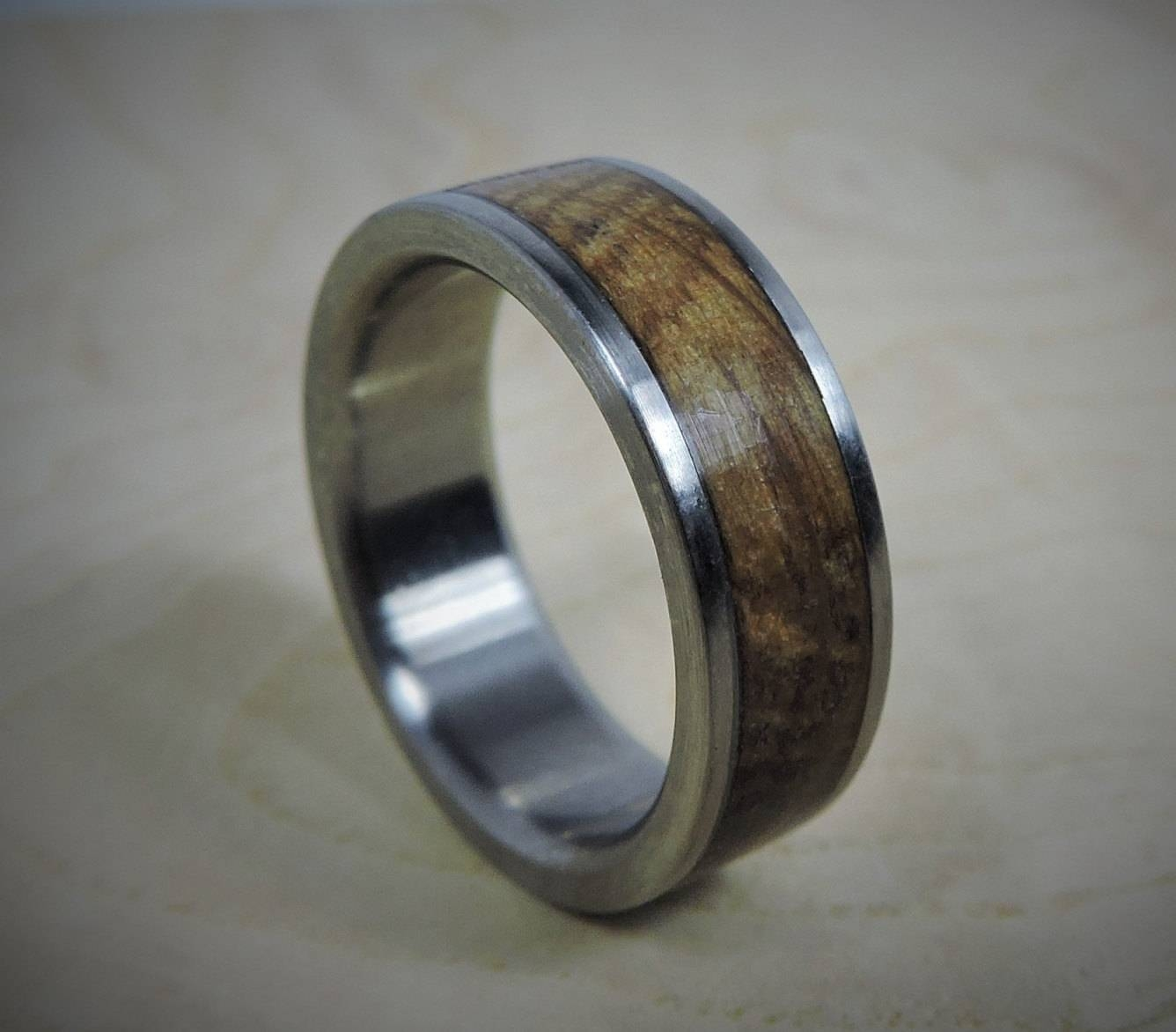 Titanium Ring, Wood Ring, Custom Made Ring, Wedding Ring, Charred With Titanium Wedding Bands (View 12 of 15)