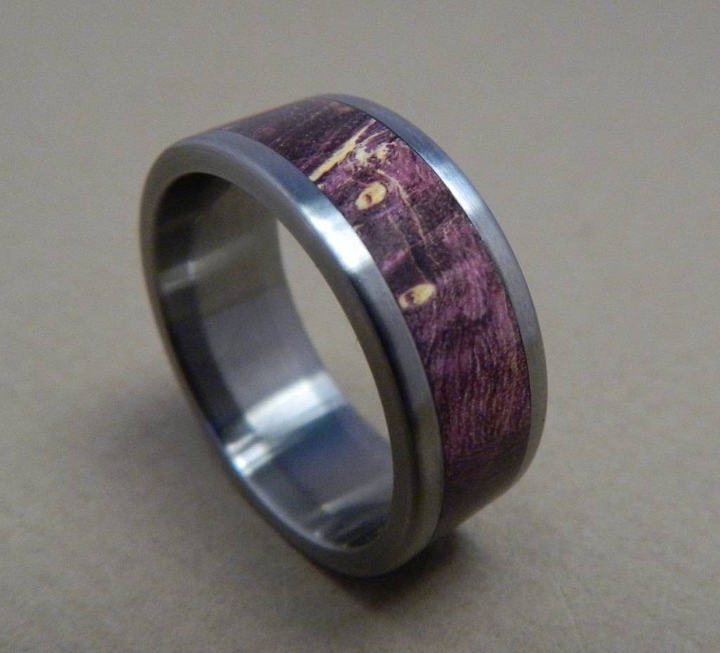 Titanium Ring, Wood Ring, Purple Box Elder Ring, Purple Ring, Wood Throughout Purple Wedding Bands (View 15 of 20)