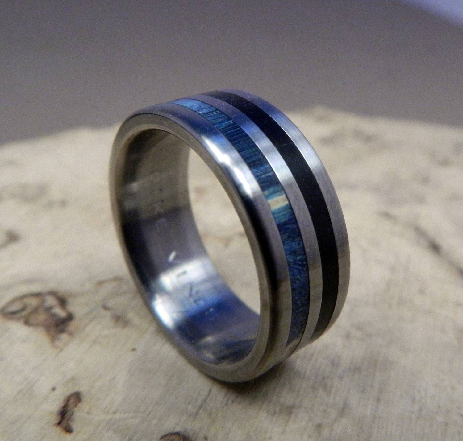 Titanium Ring, Wood Ring, Wedding Ring, Blue Ring, Ebony Ring In Mens Custom Wedding Rings (View 12 of 15)