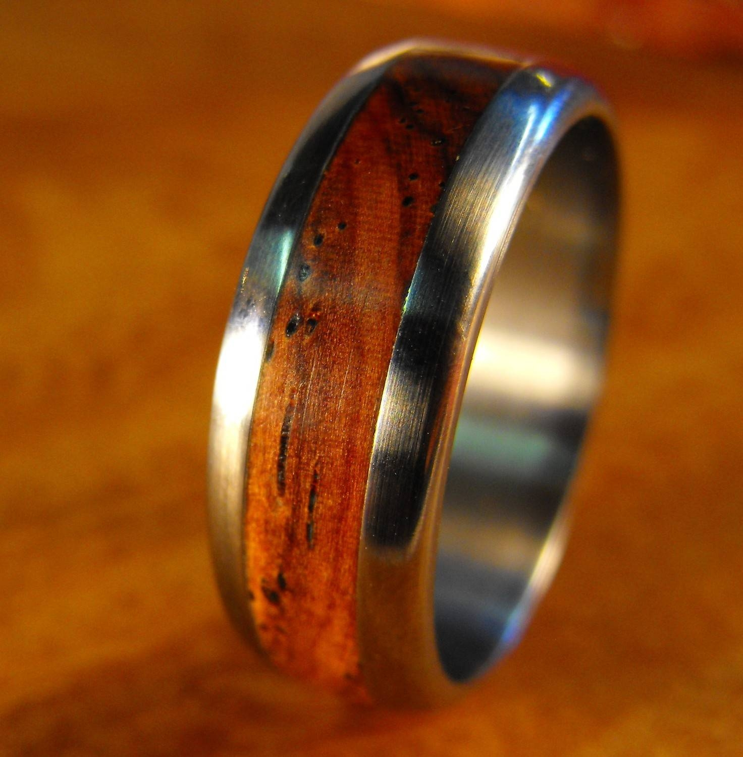 Titanium Ring, Wood Ring, Wedding Ring, Cocobolo Ring, Wood Inlay For Men's Wedding Bands Wood Inlay (View 11 of 15)