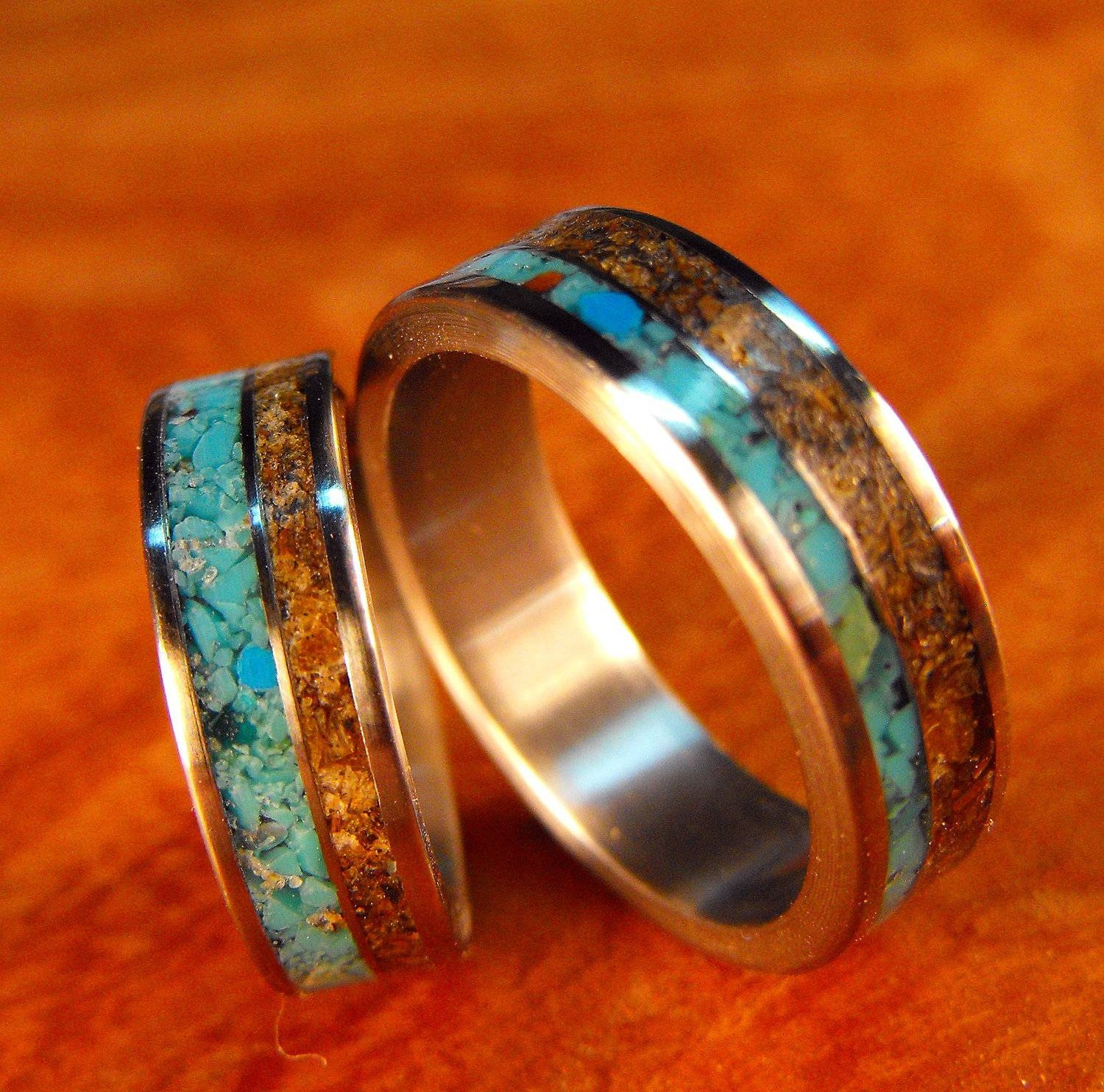 Titanium Rings, Wedding Rings, Turquoise Rings, Tigers Eye Rings Pertaining To Titanium Wedding Bands Sets His Hers (View 12 of 15)