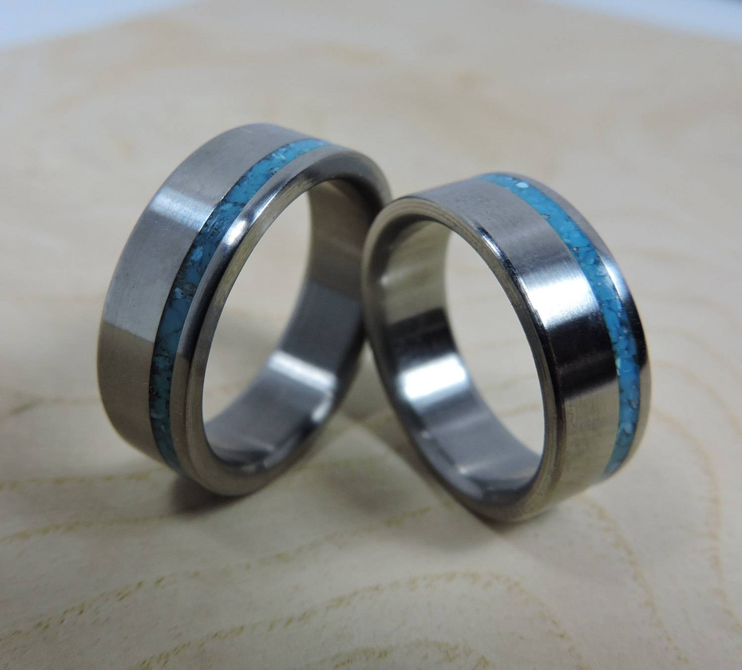 Titanium Rings, Wedding Rings, Turquoise Rings, Wedding Band Set Intended For Titanium Wedding Bands (View 13 of 15)