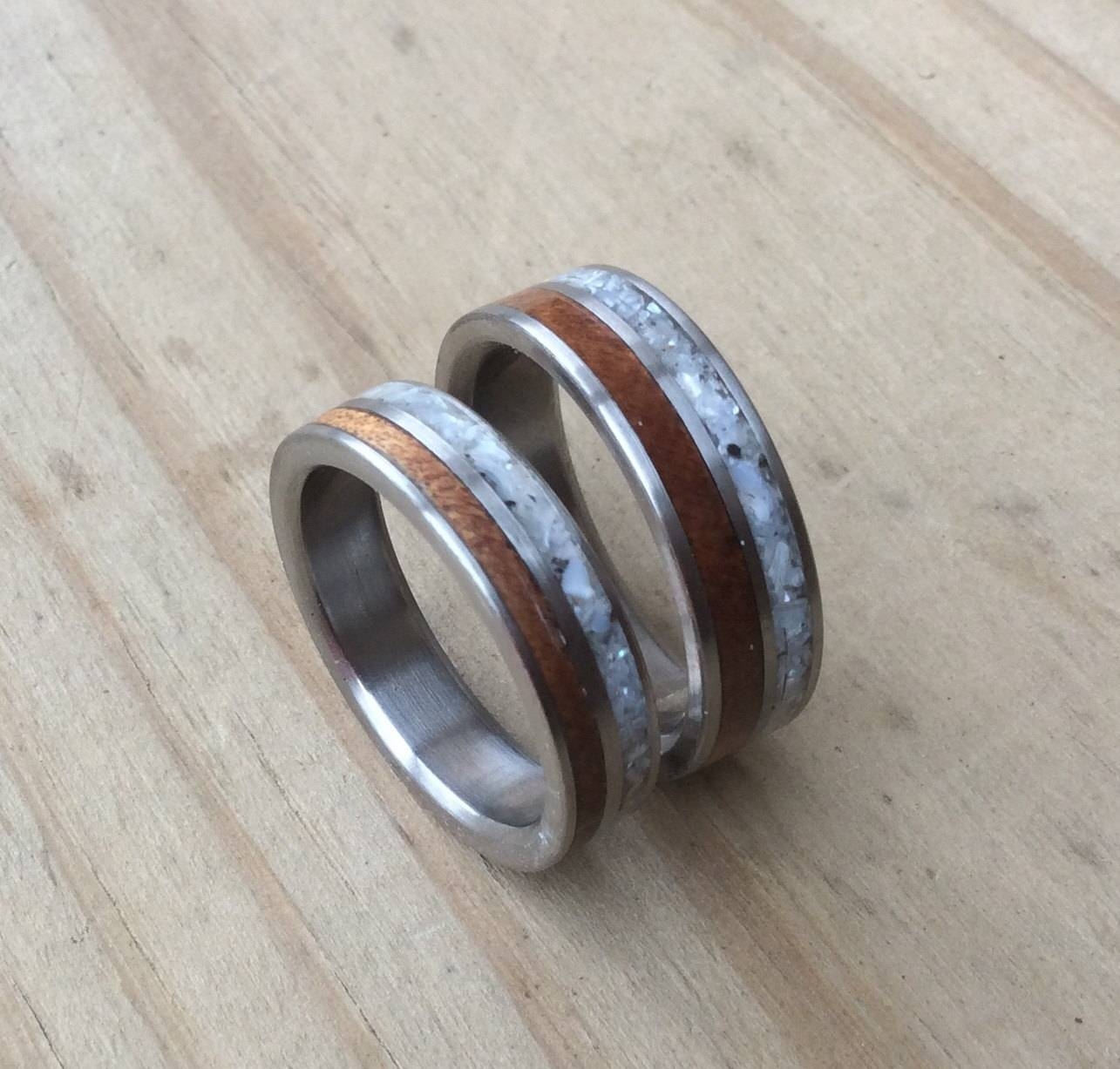 Titanium Rings, Wedding Rings, Wood Rings, Wood Inlay Rings With Mother Of Pearl Wedding Bands (View 15 of 15)
