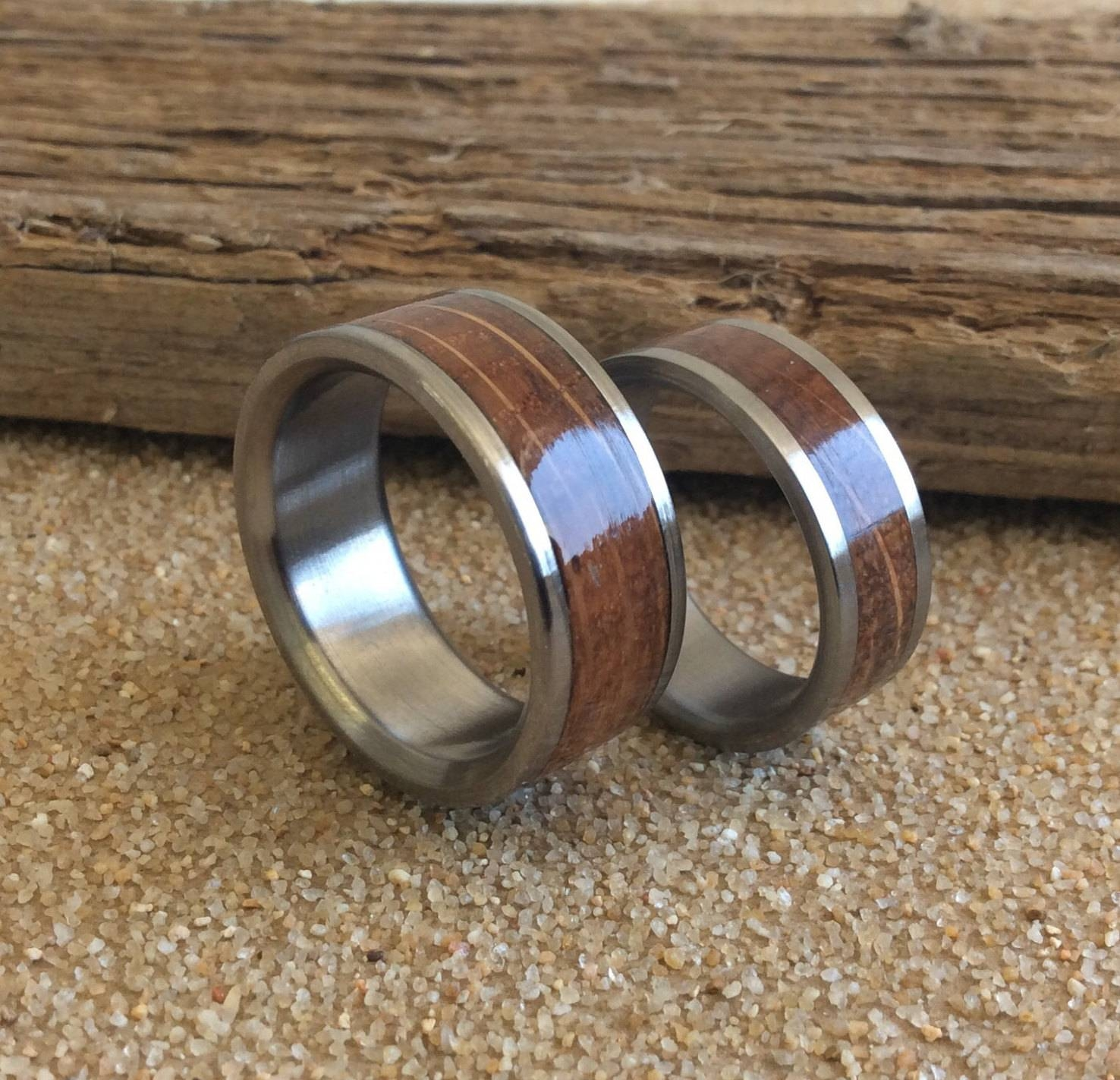 Titanium Rings, Wood Rings, Wedding Rings, Charred Oak Whiskey Inside Handmade Mens Wedding Rings (Gallery 1 of 15)