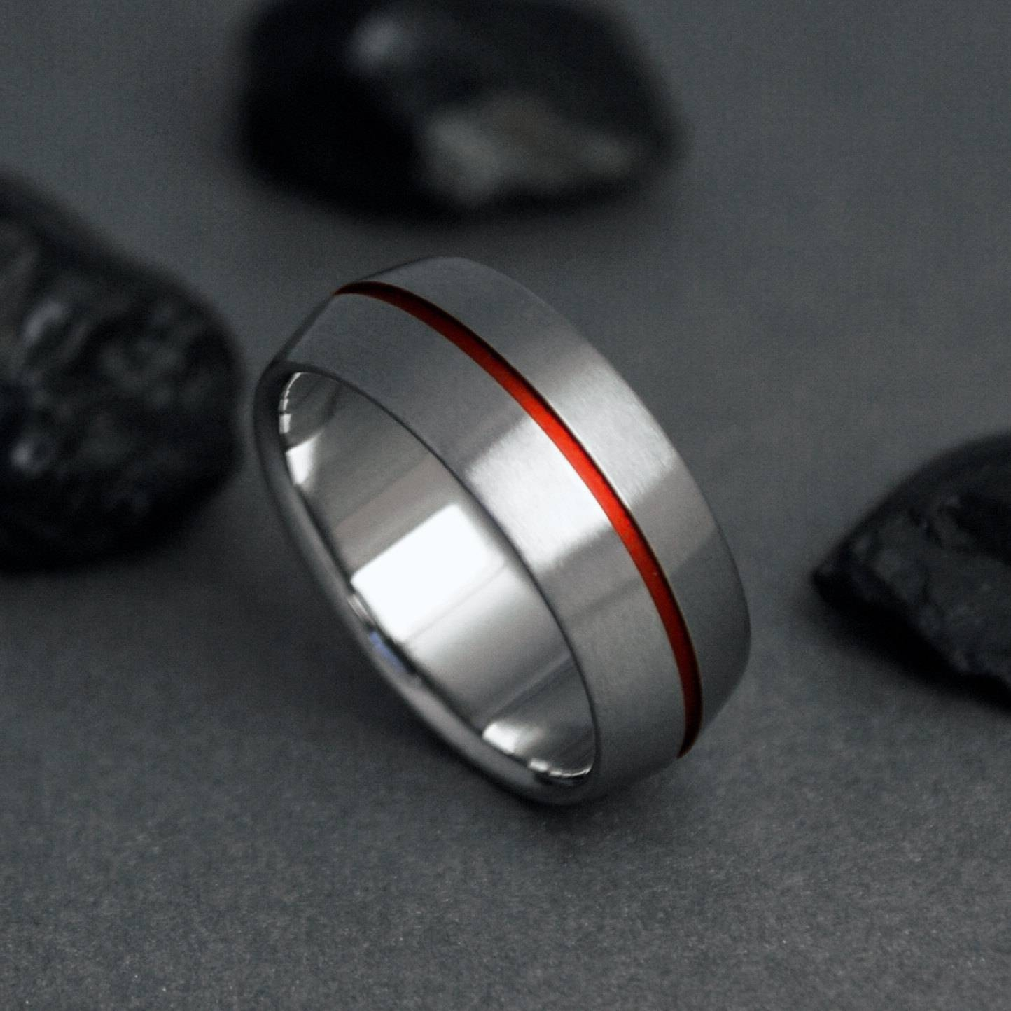 Titanium Wedding Band Red Pinstripe Red Thread Of Fate Regarding Red String Of Fate Wedding Rings (View 14 of 15)