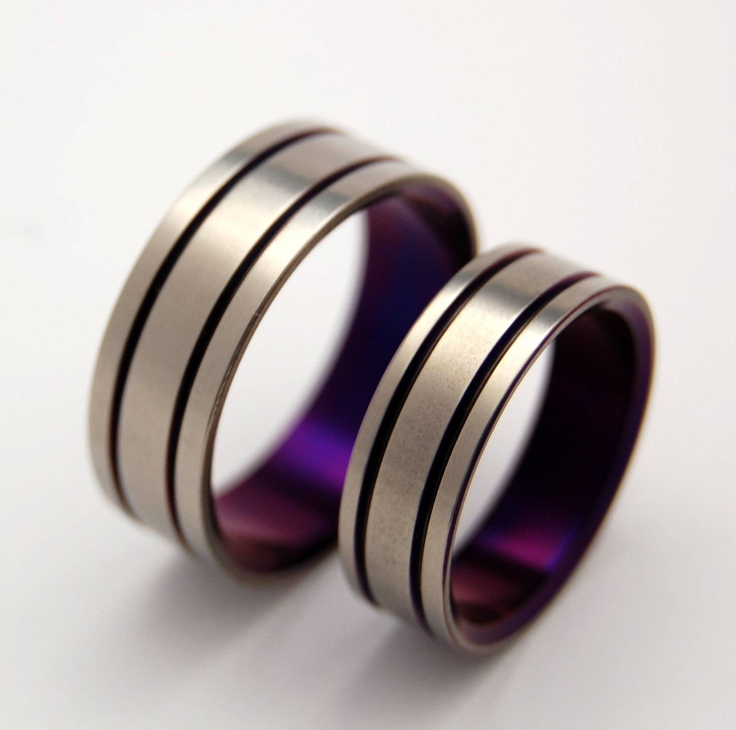 Titanium Wedding Band Set Purple Wedding Ring Mens Ring With Purple Wedding Bands (View 16 of 20)