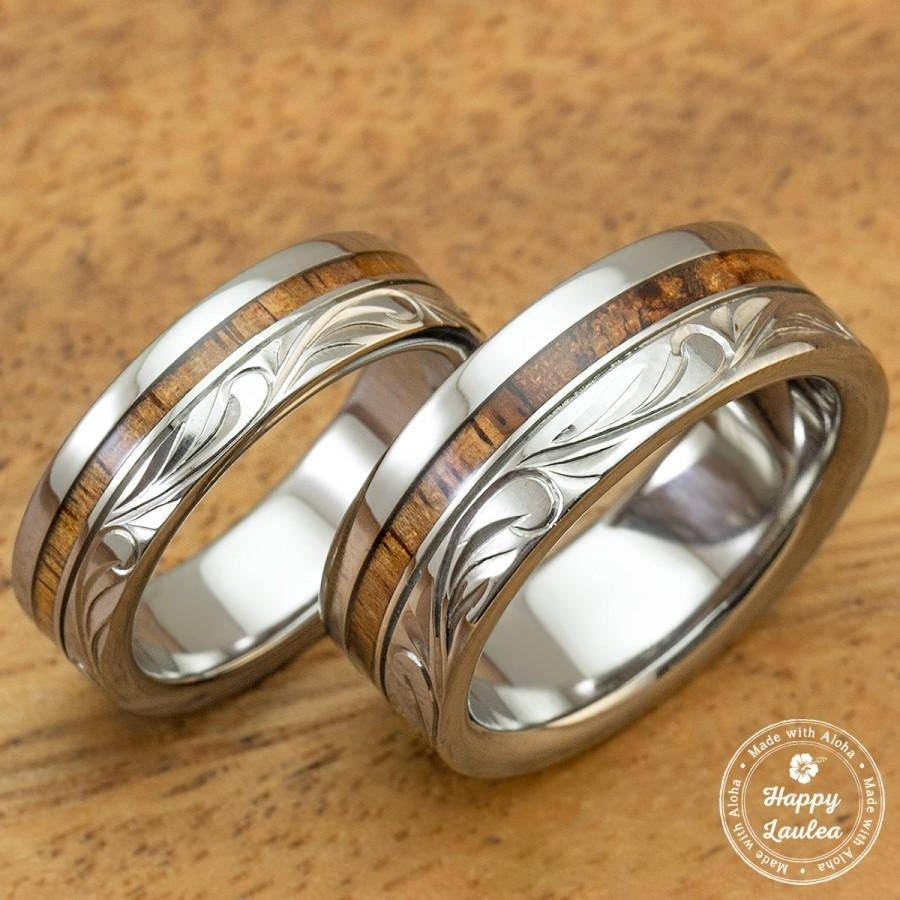 Titanium Wedding Band Set With Hawaiian Koa Wood Inlay Hand Regarding Engravable Titanium Wedding Bands (View 11 of 15)
