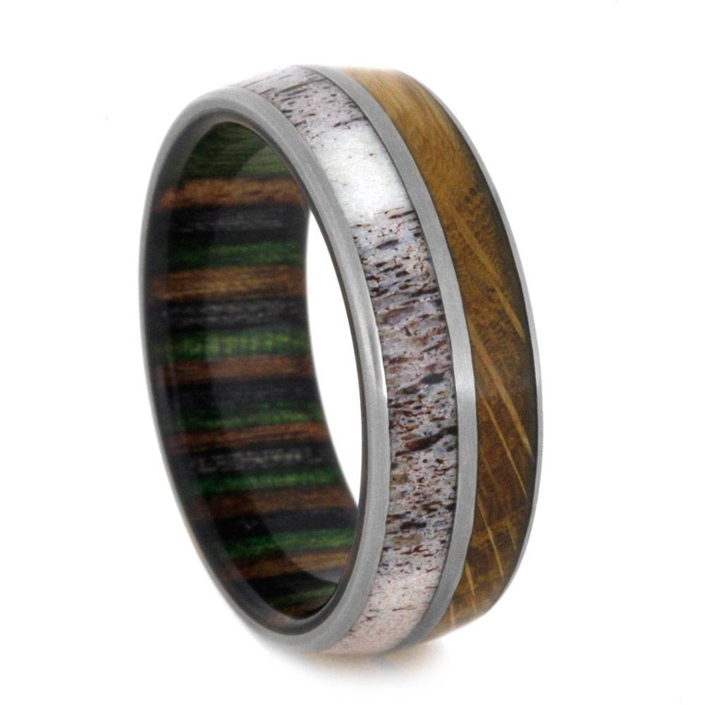 Titanium Wedding Band With Dymondwood And Antler Throughout Wood And Metal Wedding Bands (View 5 of 15)