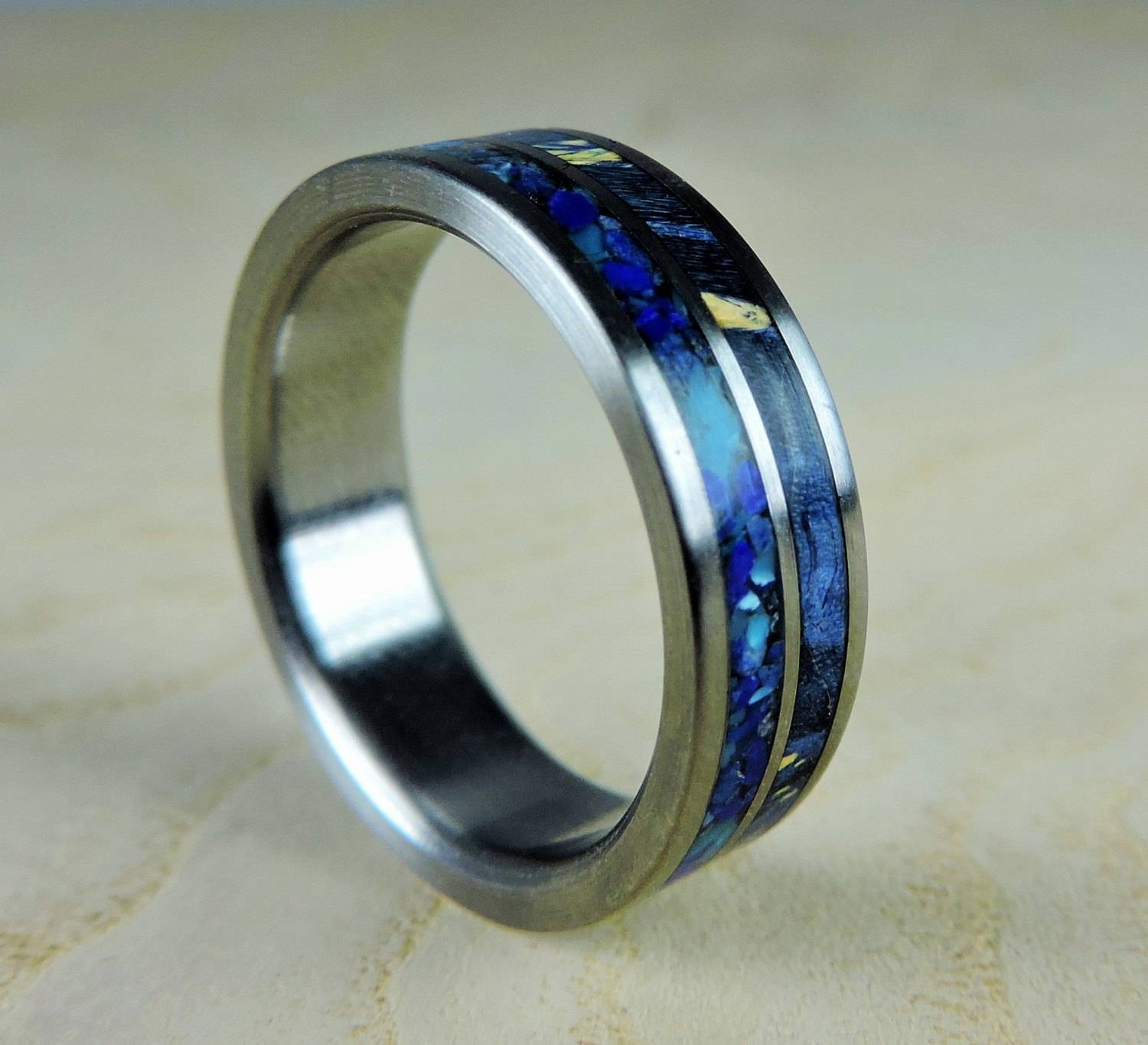 Titanium Wedding Ring, Blue Wood And Stone, Wood Ring, Titanium With Mens Custom Wedding Rings (View 13 of 15)